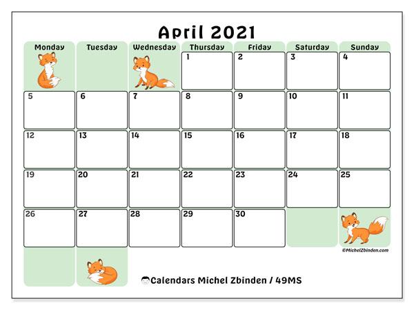 April 2021 Calendar, 49MS. Planner to print free.