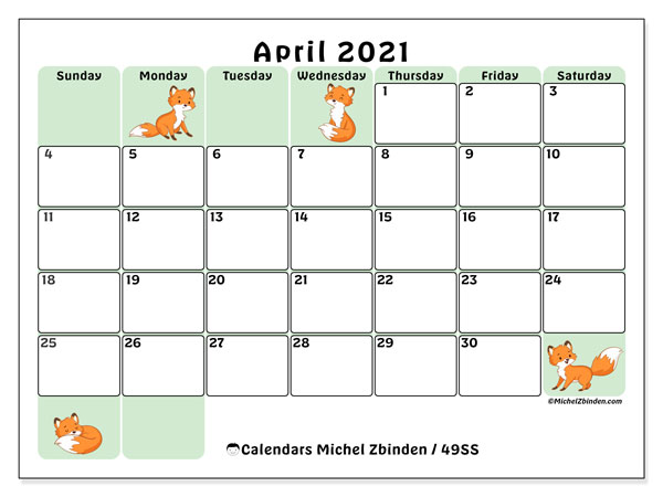 "Printable April 2021 ""49SS"" Calendar - Michel Zbinden EN"