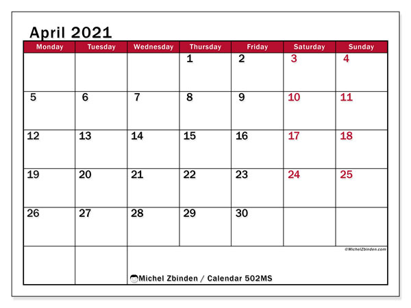 Printable calendar, April 2021, 502MS