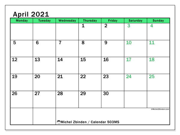Printable calendar, April 2021, 503MS