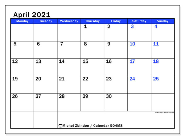 Printable calendar, April 2021, 504MS