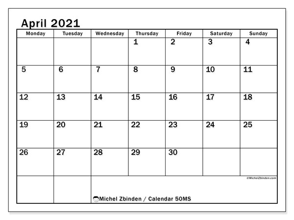Printable calendar, April 2021, 50MS