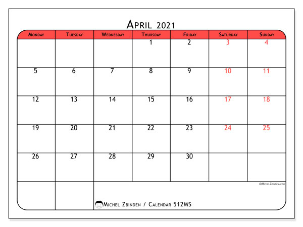 Printable calendar, April 2021, 512MS