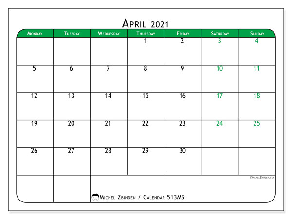Printable calendar, April 2021, 513MS