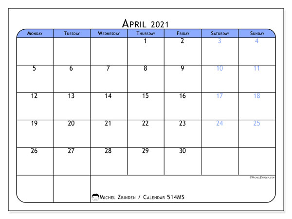 Printable calendar, April 2021, 514MS