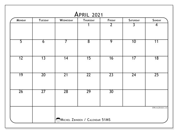 Calendar April 2021 - 51MS. Popular. Monthly Calendar and free printable agenda.