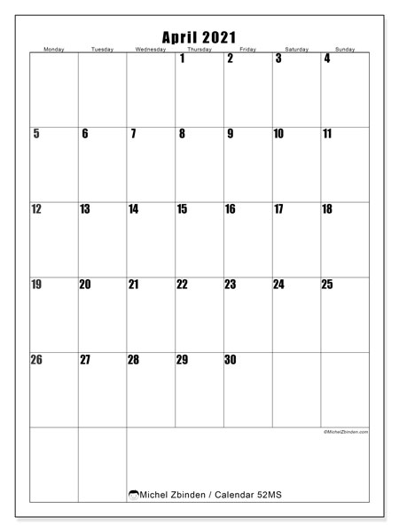 Printable calendar, April 2021, 52MS