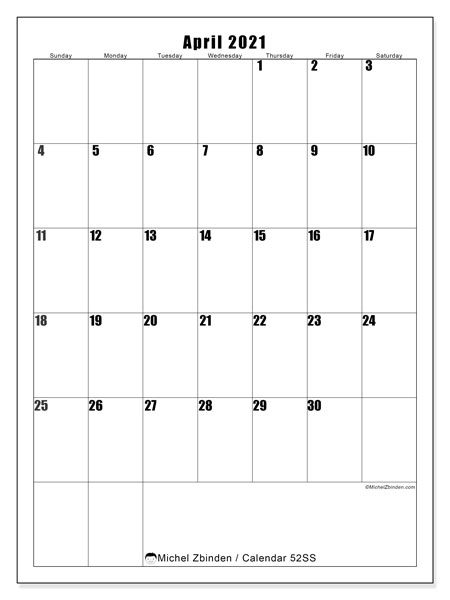 "Printable April 2021 calendar. Monthly calendar ""52SS"" and schedule to print free"