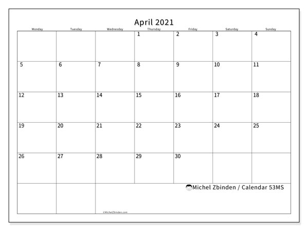 Printable calendar, April 2021, 53MS