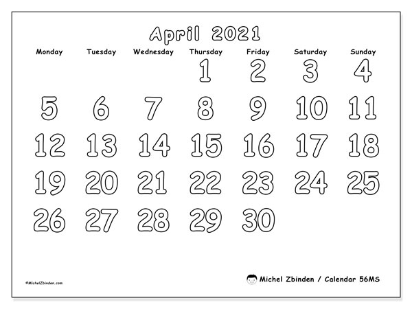 Printable calendar, April 2021, 56MS