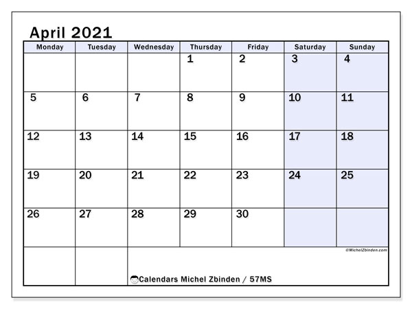April 2021 Calendar, 57MS. Planner to print free.