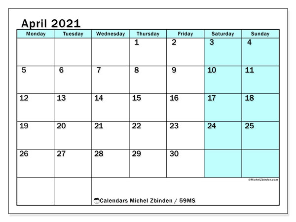 Calendar April 2021 - 59MS. South Turquoise. Monthly Calendar and free printable bullet journal.