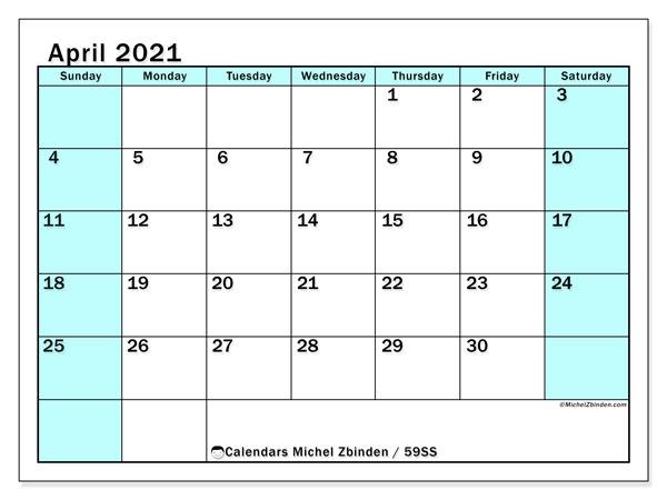 April 2021 Calendar, 59SS. Free printable monthly planner.