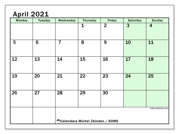 Calendar April 2021 - 60MS. Bright Green. Monthly Calendar and free printable agenda.