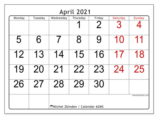 Printable calendar, April 2021, 62MS