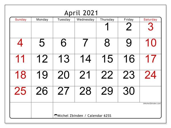 April 2021 Calendar, 62SS. Calendar to print free.