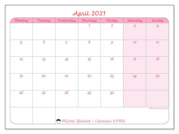 Printable calendar, April 2021, 63MS