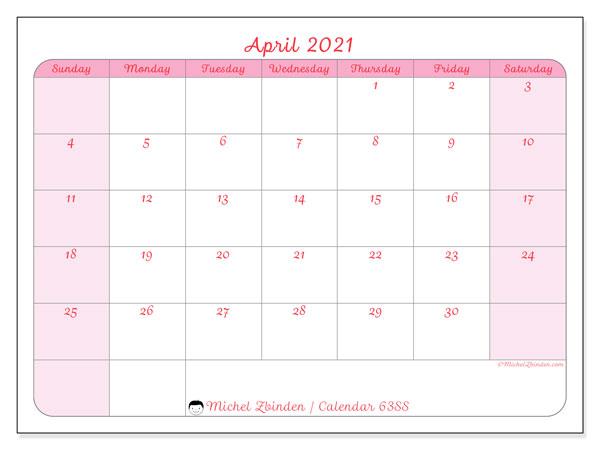 April 2021 Calendar, 63SS. Monthly calendar to print free.