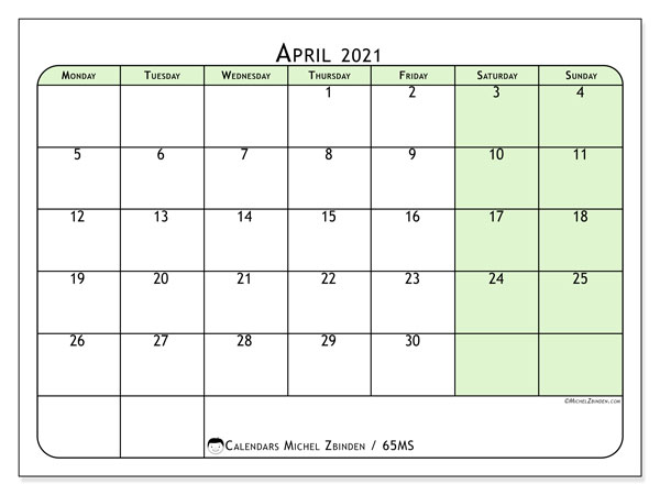 April 2021 Calendar, 65MS. Free bullet journal to print.