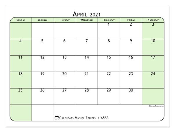 April 2021 Calendar, 65SS. Calendar to print free.