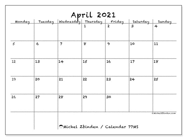 Printable calendar, April 2021, 77MS