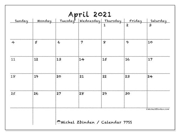 April 2021 Calendar, 77SS. Free bullet journal to print.