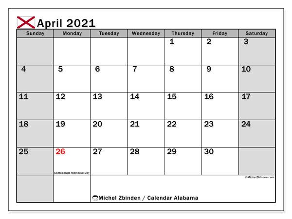 April 2021 Calendar, with the holidays of Alabama. Holidays calendar to print free.
