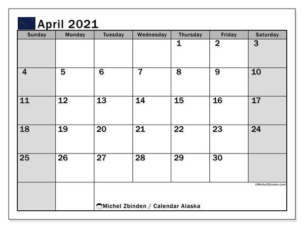 April 2021 Calendar, with the holidays of Alaska. Free printable calendar with public holidays.