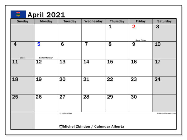 "Printable ""Alberta"" calendar with public holidays. Monthly April 2021 calendar and bullet journal to print free."