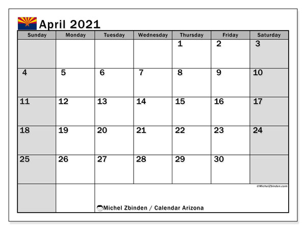 Calendar April 2021 - Arizona. Public Holidays. Monthly Calendar and free timetable to print.