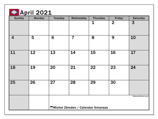 April 2021 Calendar, with the holidays of Arkansas. Holidays calendar to print free.