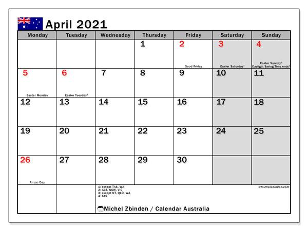 April 2021 Calendar, with the holidays of Australia. Free printable calendar with public holidays.