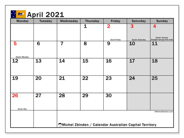Calendar April 2021 - Australian Capital Territory. Public Holidays. Monthly Calendar and schedule to print free.