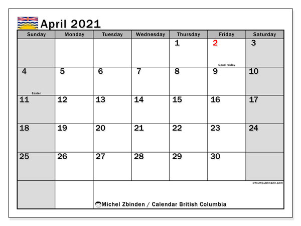 April 2021 Calendar, with the holidays of British Columbia. Free printable calendar with public holidays.