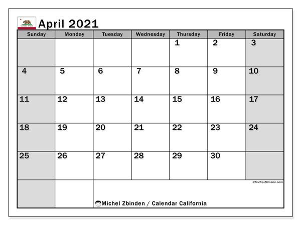 "Printable ""California"" calendar with public holidays. Monthly April 2021 calendar and free printable planner."