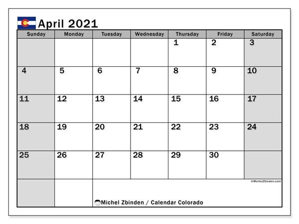 April 2021 Calendar, with the holidays of Colorado. Free printable calendar with public holidays.