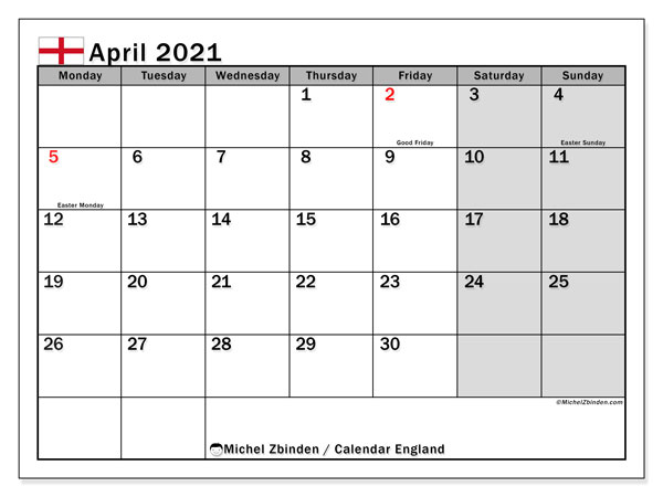 April 2021 Calendar, with the holidays of England. Holidays calendar to print free.