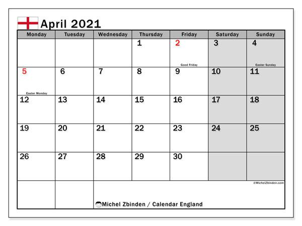 April 2021 Calendar, with the holidays of England. Free printable calendar with public holidays.