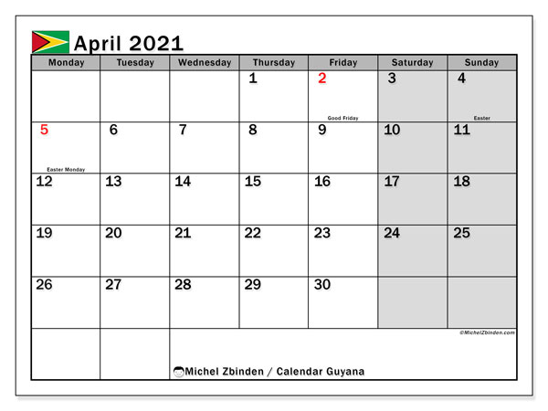 April 2021 Calendar, with the holidays of Guyana. Holidays calendar to print free.