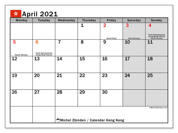 April 2021 Calendar, with the holidays of Hong Kong. Free printable calendar with public holidays.