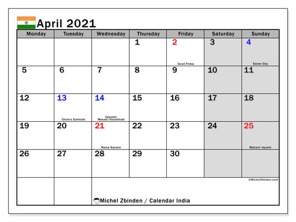 Calendar April 2021 - India. Public Holidays. Monthly Calendar and planner to print free.
