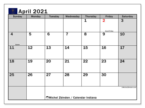 April 2021 Calendar, with the holidays of Indiana. Holidays calendar to print free.