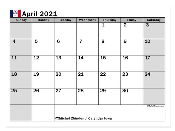 April 2021 Calendar, with the holidays of Iowa. Holidays calendar to print free.