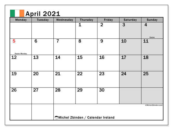 Printable calendars, April 2021, Public Holidays