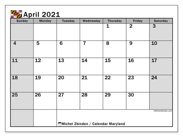 Calendar April 2021 - Maryland. Public Holidays. Monthly Calendar and free printable schedule.