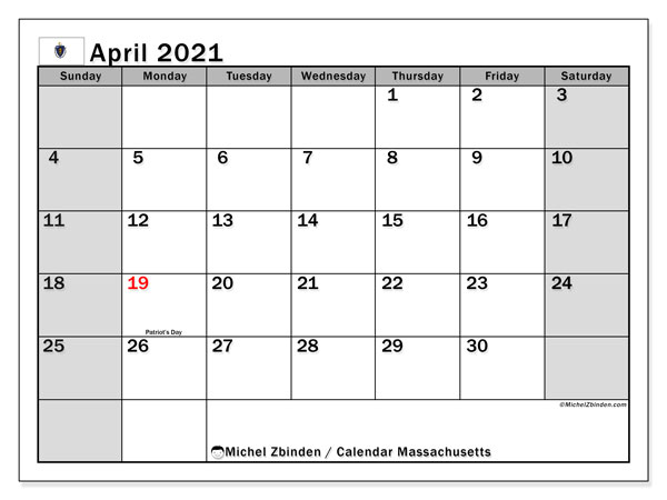 April 2021 Calendar, with the holidays of Massachusetts. Holidays calendar to print free.