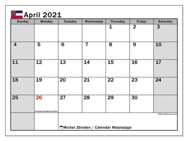 Calendar April 2021 - Mississippi. Public Holidays. Monthly Calendar and free printable bullet journal.