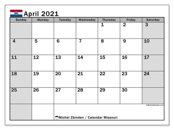 April 2021 Calendar, with the holidays of Missouri. Holidays calendar to print free.