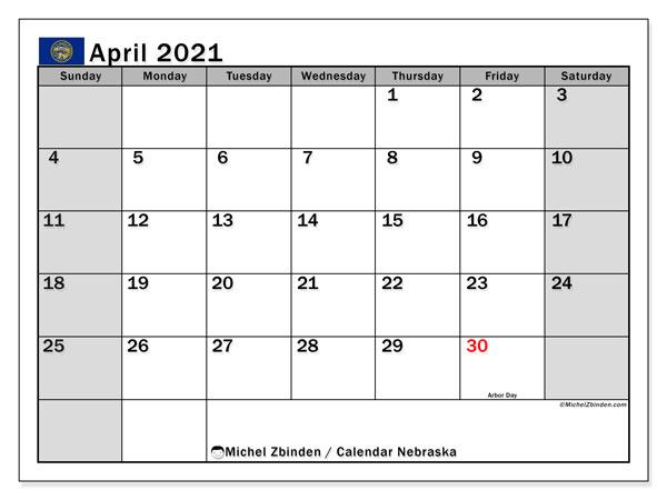 April 2021 Calendar, with the holidays of Nebraska. Free printable calendar with public holidays.
