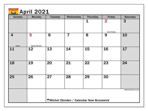 Calendar April 2021 - New Brunswick. Public Holidays. Monthly Calendar and bullet journal to print free.